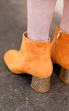 Molly Yellow Gold Suede Ankle Boots