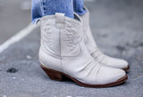 Texan White Leather Boots by Portamento