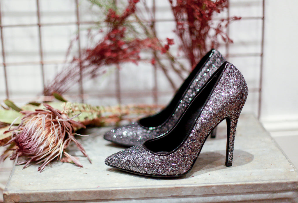 Glitter pumps stiletto heel. Made in Italy. 100% Leather.