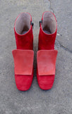 Lucy Red Suede Ankle Boots