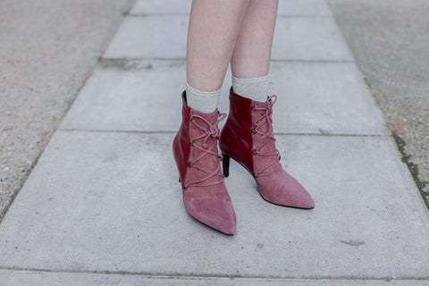 Stevie Burgundy Mauve Suede Ankle Boots