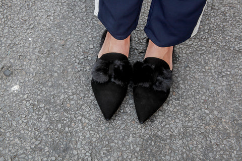 Pom Black Slippers