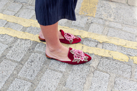 ROSE SLIPPERS BURGUNDY