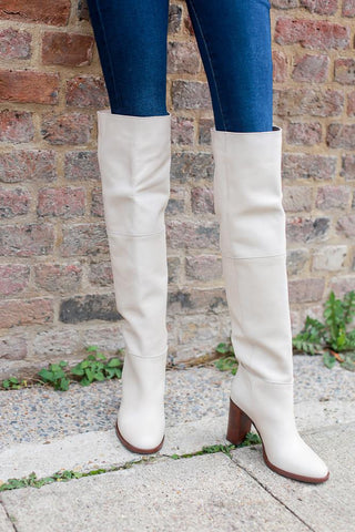 Lola Over The Knee White Boots