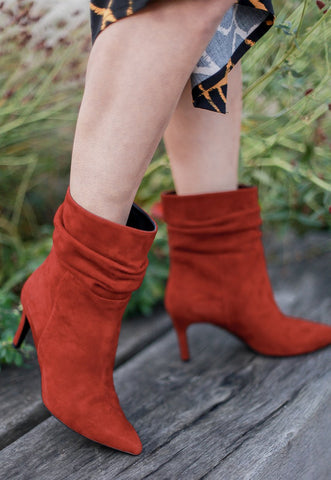 Anna Red Suede Boots