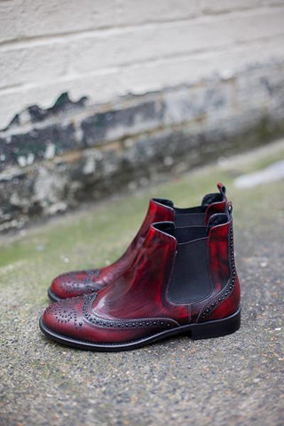 Carlotta Red Chelsea Boots