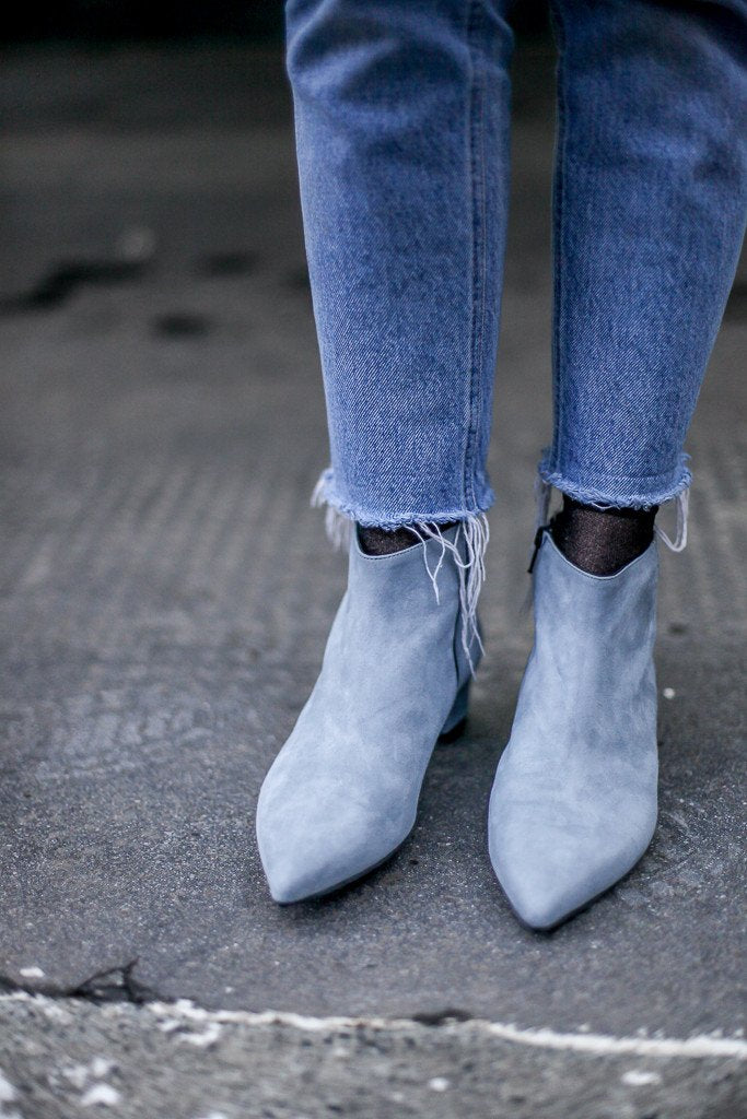Gilda Blue Suede Ankle Boots