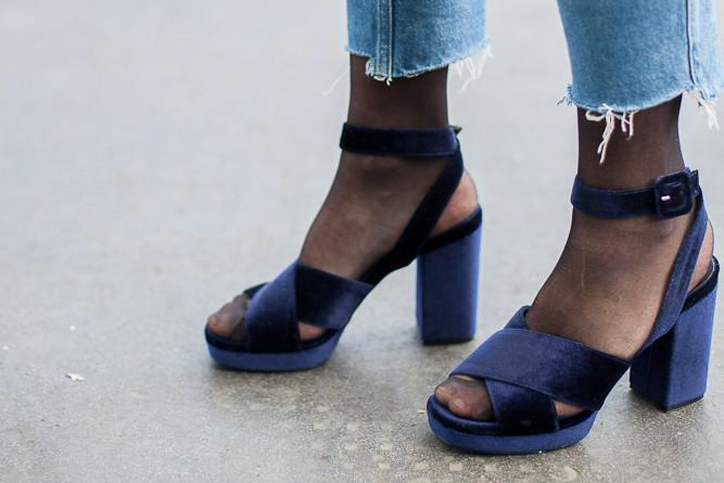 Blair Blue Velvet Sandal