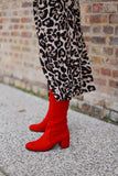 Joan Red Suede Boots