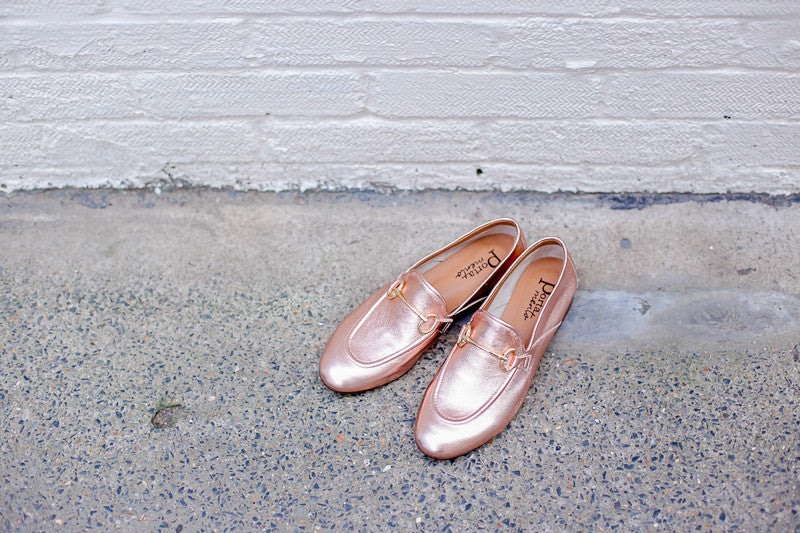Portamento metallic rose copper leather loafers. Made in Italy