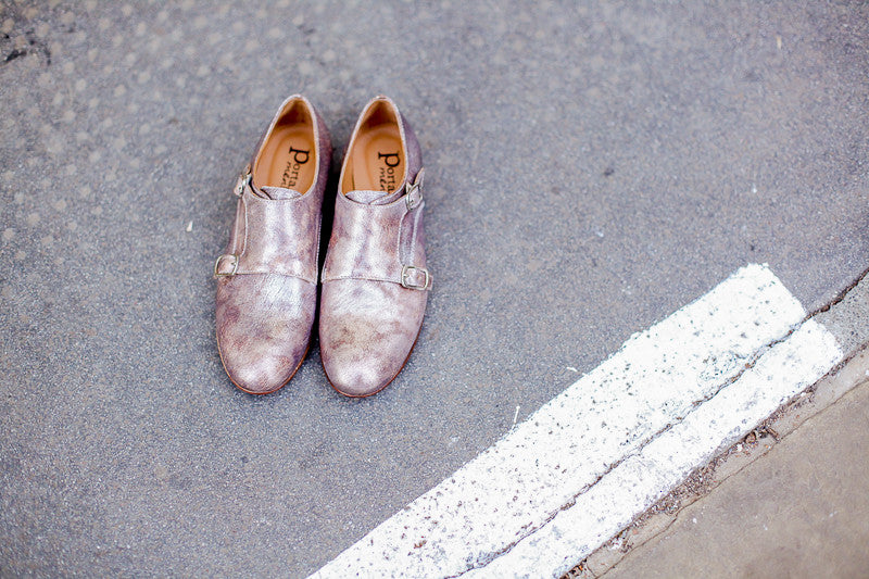 Portamento metallic copper leather monk strap shoes. Made in Italy
