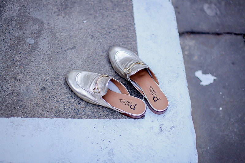 Portamento metallic old gold leather slippers by Portamento