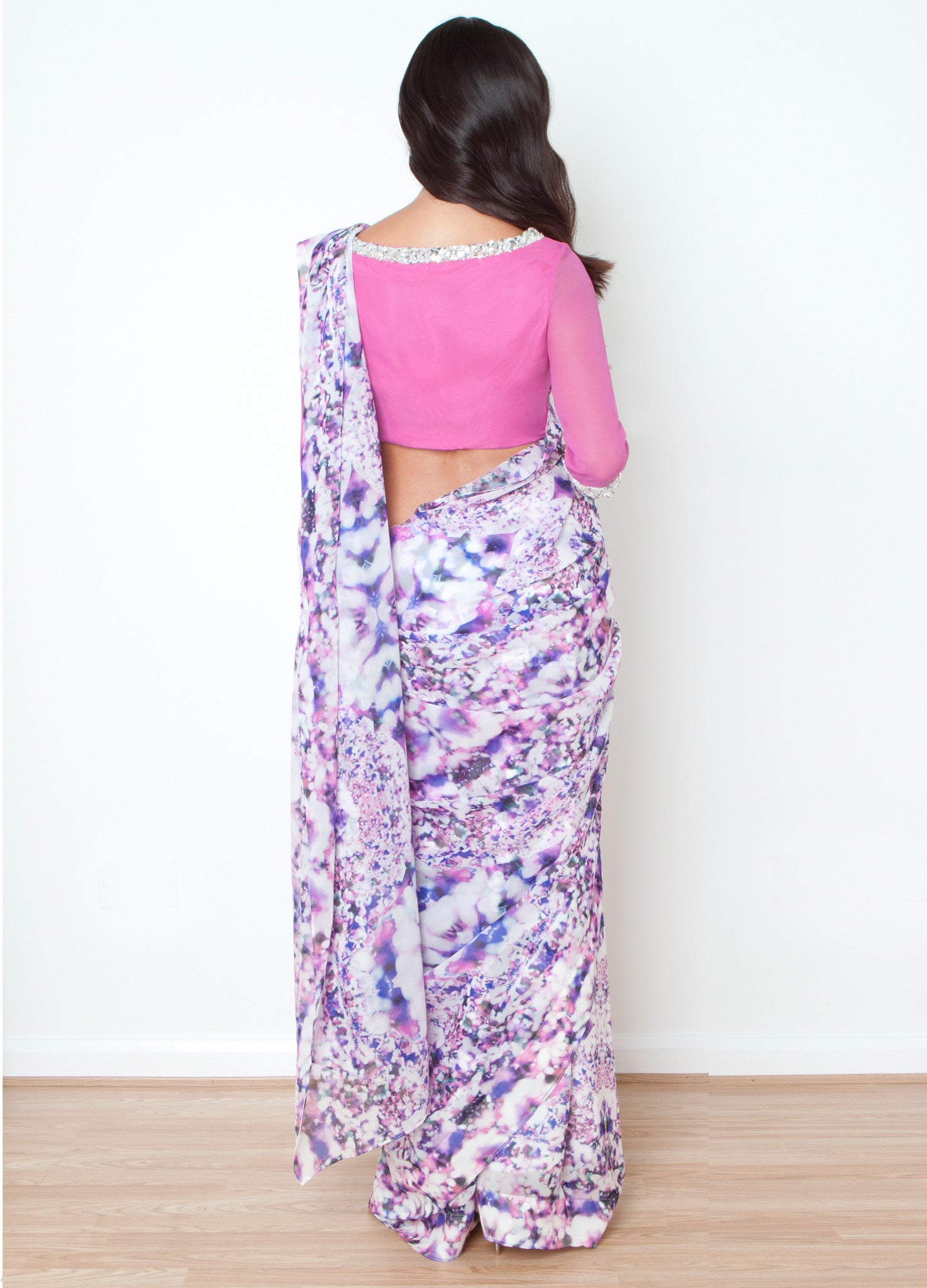 Iris Sari with Rosewood Blouse
