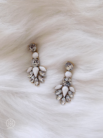 16kt Beauty White Crystal Statement Earrings