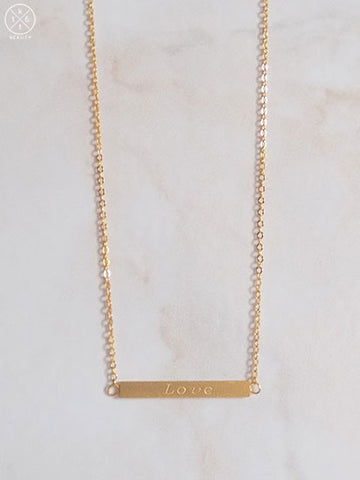 Love Gold Bar Necklace