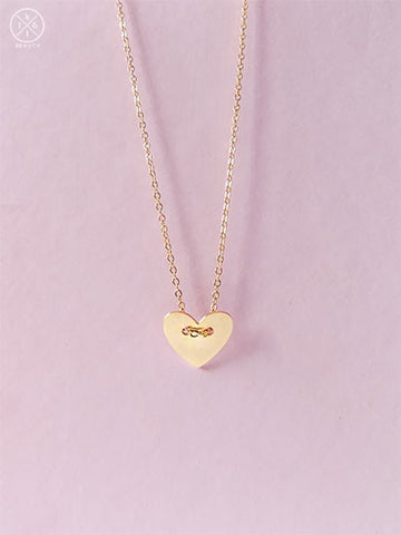 Button Heart Gold Necklace