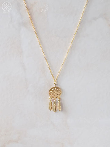 Dreamcatcher Necklace in Gold