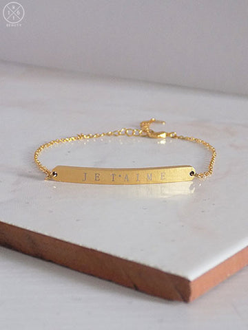 16kt Beauty Je T'aime Gold Bar Bracelet