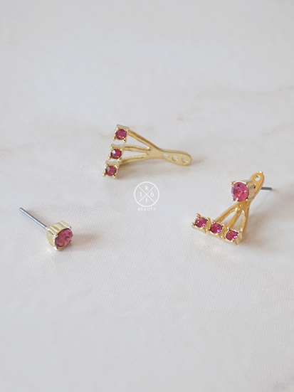 Soleil Crystal Ear Jackets- Ruby