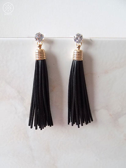 Black Leather Tassel Earrings