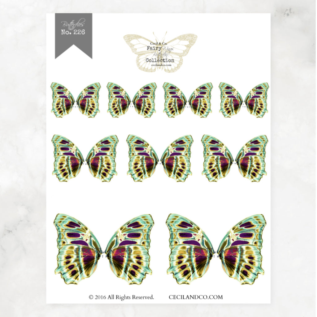 Digital Butterfly Fairy Wings Collection No. 226