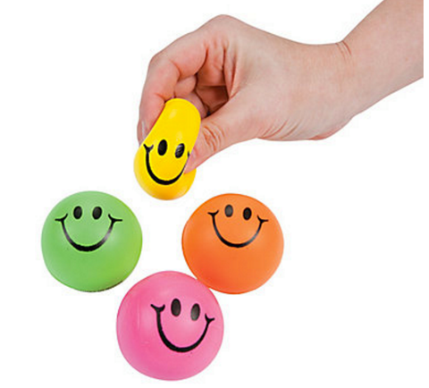 Mini Neon Smiley Stress Ball