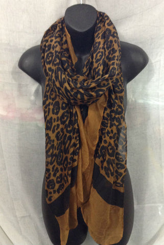 LEOPARD PRINT PATTERN LIGHT WEIGHT WRAP OR SCARF COLOR BLACK