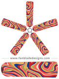 Fan Blade Designs fan blade covers - Swirling Rainbow
