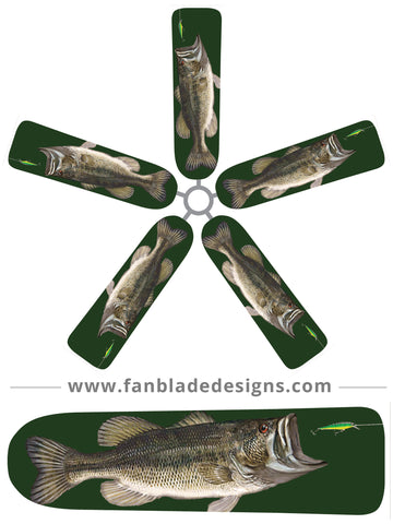 Fan Blade Designs fan blade covers - Largemouth Bass