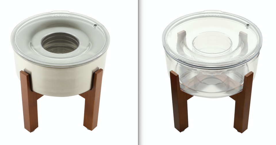 Slopper Stopper Stainless Steel Bowl and Tritan Plastic Bowl with Slopper Stopper Wooden Elevated Dog Bowl Stand