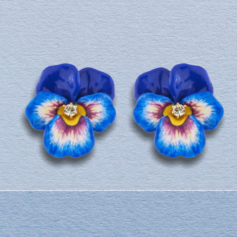 "Blue pansy and crystal clip on earrings ""les Néréides"""
