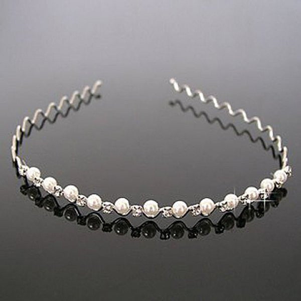 Elegant Pearl and Rhinestone Embellished Hair Band