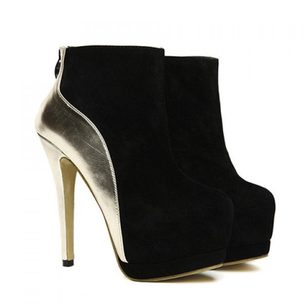 Party Suede Splicing High Heel Design Women's Boots