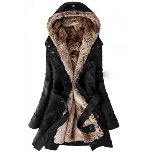 Long Sleeves Hooded Thickened Faux Fur Lined Waistband Beam Waist Pockets Casual Coat