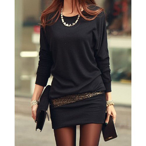 Simple Style Scoop Neck Long Sleeve Sequin Embellished Packet Buttock Cotton Blend