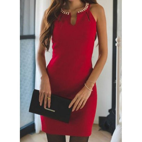 Sexy Style Beading Sleeveless Slimming Packet Buttock Solid Color Women's Dress