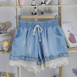 Stylish Splicing Stringy Selvedge Drawstring Denim Women's Shorts