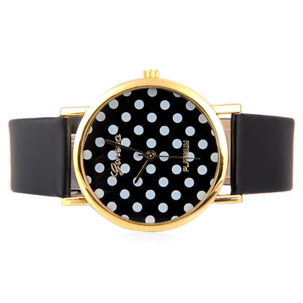 Geneva Luxury Quartz Watch with Diamonds and Small Dots Analog Indicate Leather