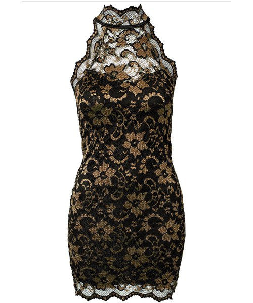 Sexy Turtleneck Sleeveless Embroidered Bodycon Slimming Women's Dress