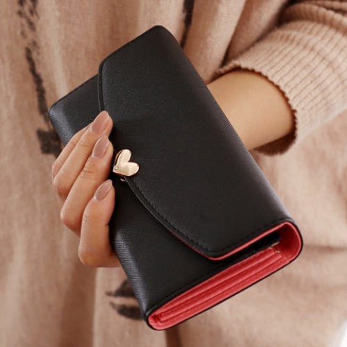 Simple Solid Color and Heart Shape Design Women's Clutch Wallet