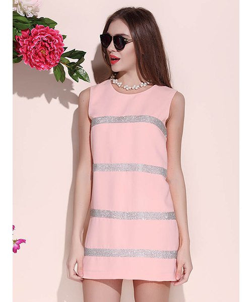 Charming Round Collar Beading Striped Sleeveless Cotton Blend Women's Sundress