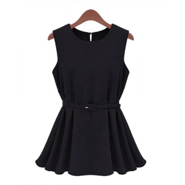 Trendy Sleeveless Round Collar Solid Color Women's Mini Dress