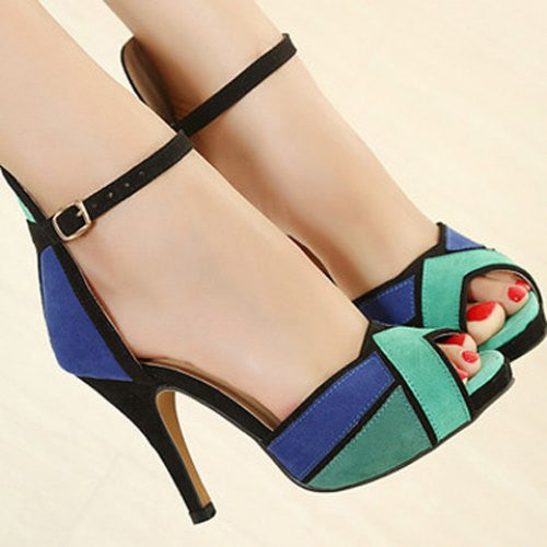 Trendy Color Block and Stiletto Design Women's Suede Sandals