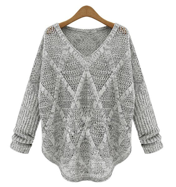 Solid Color Hollow Out Design Long Sleeve V-Neck Women's Sweater