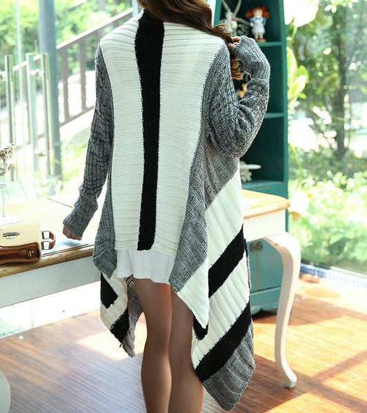Color Block Long Sleeve Collarless Asymmetrical Hem Women's Cardigan