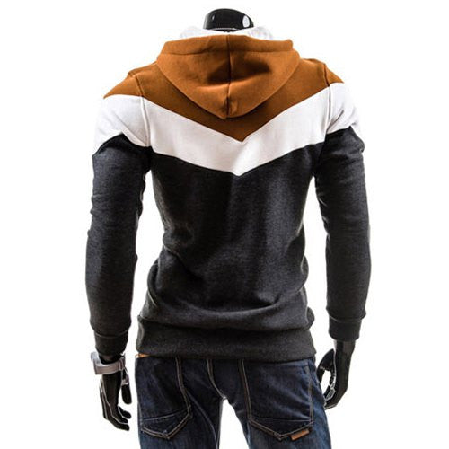 Slimming Trendy Hooded Personality Color Splicing Long Sleeves