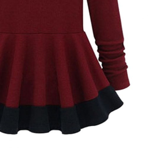 Stylish Round Neck Long Sleeve Color Block Women's Knitwear