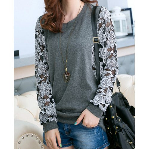 Lace Splicing Round Collar Long Sleeve Loose Women's T-Shirt