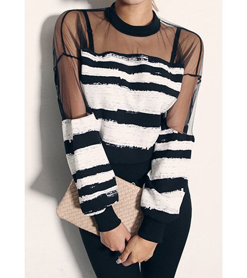 Sexy Round Neck Voile Splicing Striped Long Sleeve