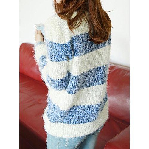 Casual Style Jewel Neck Striped All-Match Long Sleeve Women's Sweater